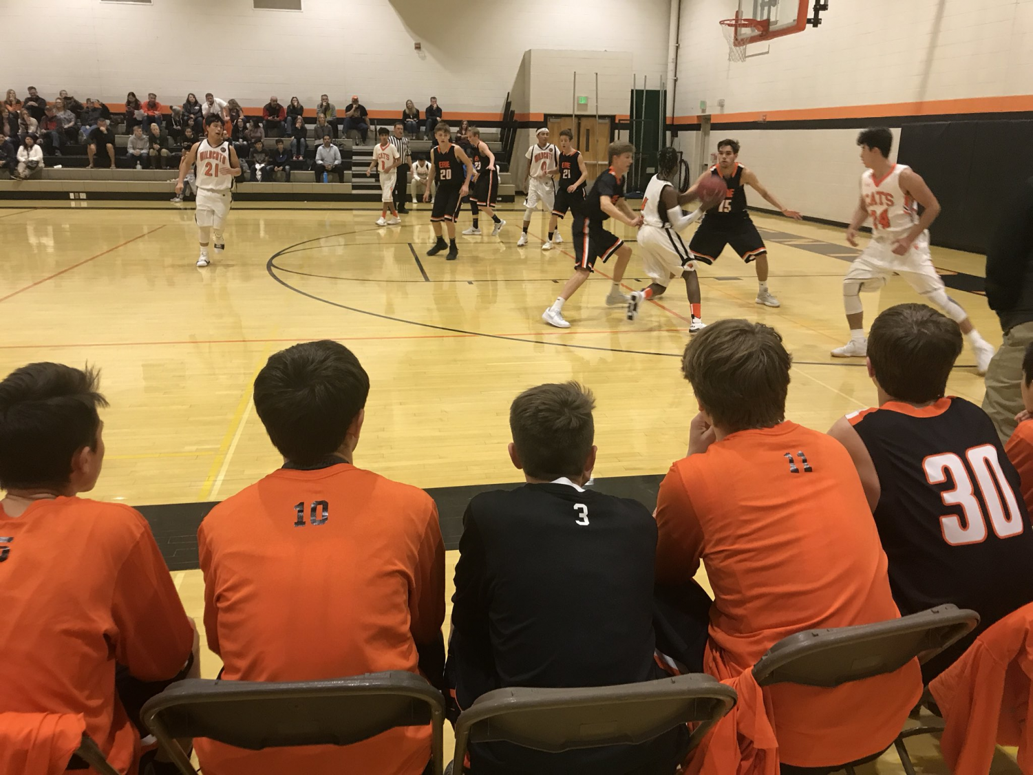 EHS Boys C-Team plays against the Greely Central Wildcats. Photo from @erieboysbball Twitter.