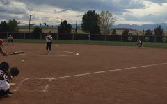 Madie Leach gets one of her six strikeouts of the afternoon.