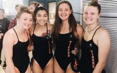 The relay team that qualified for state, from left to right: Peyton Irwin, Shay Maruna, Alice Mazzetti, and Meredith Olson