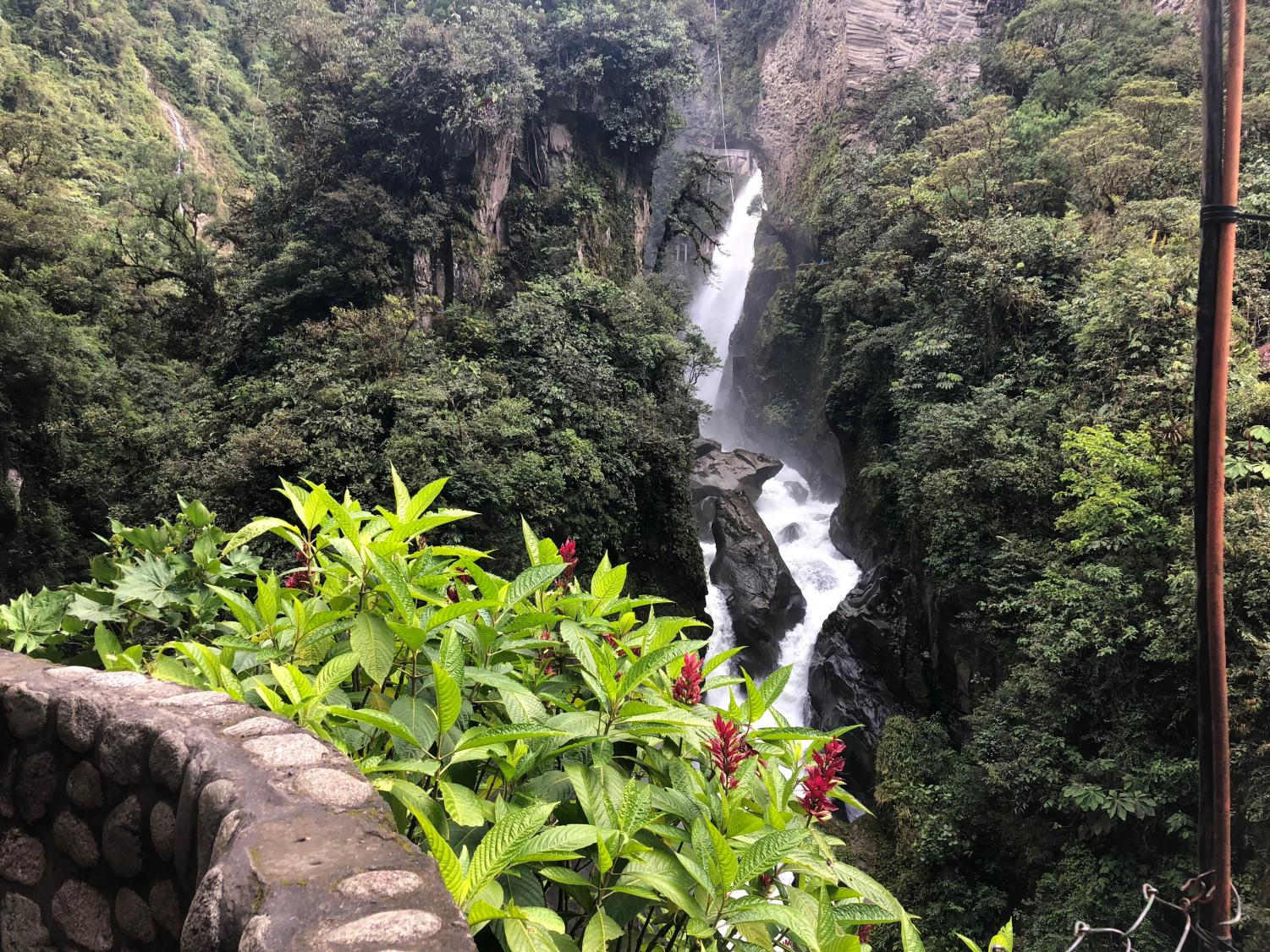 One of the several waterfalls in Banos, Ecuador.
