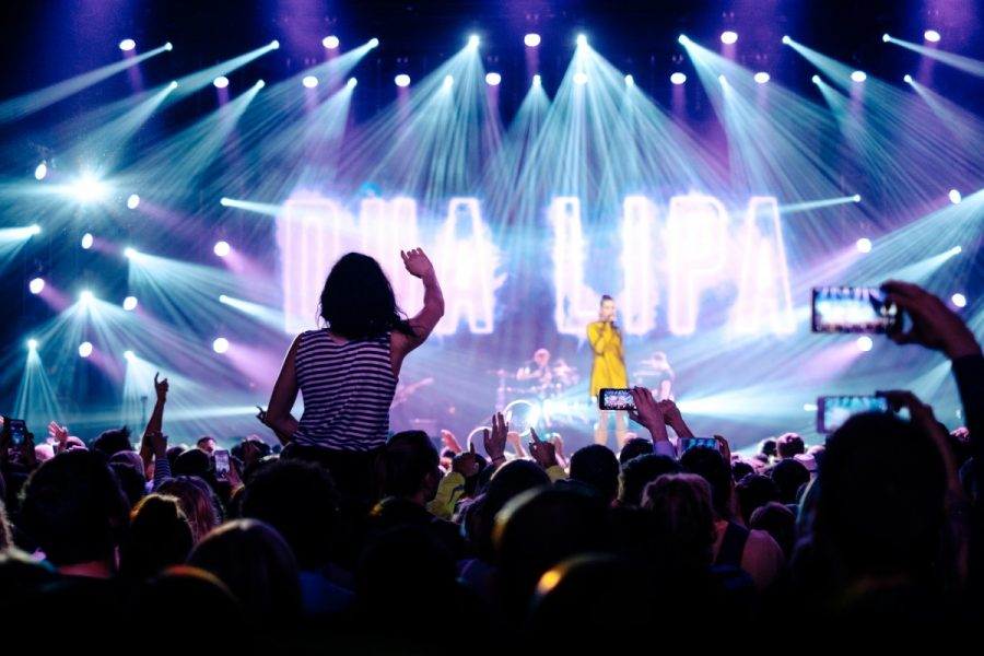 Dua Lipa performing live in concert.