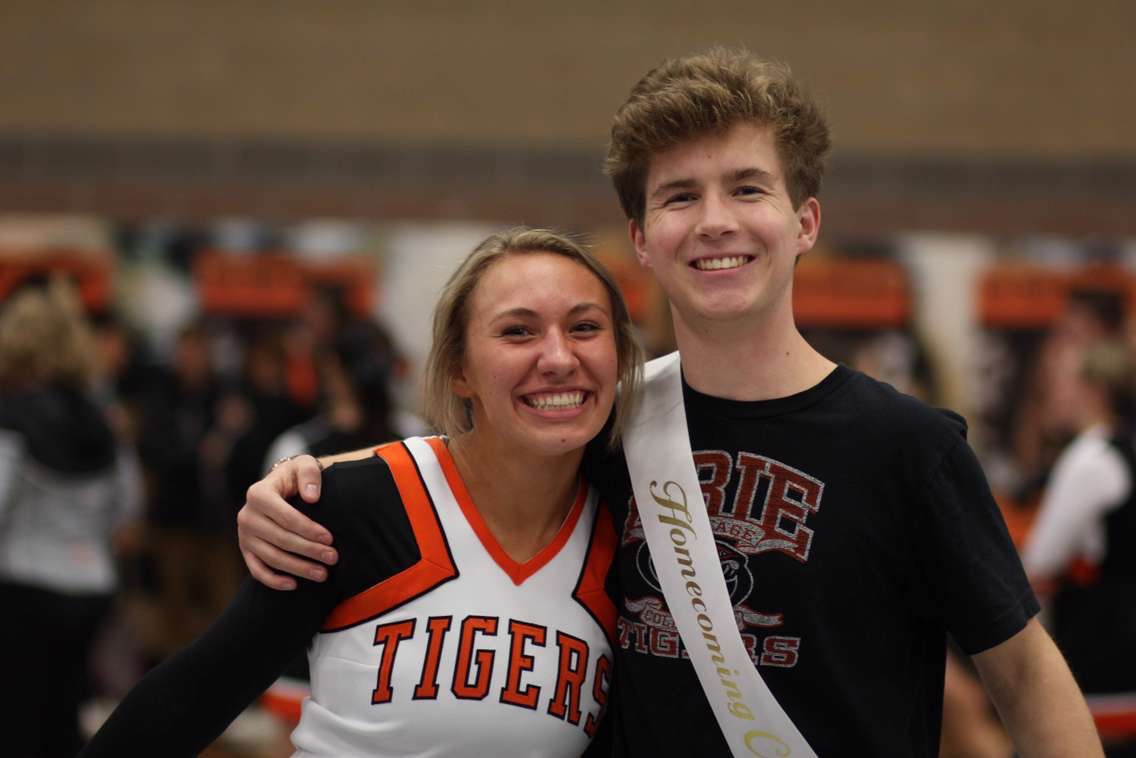 Izzy Hageman and Jack Laychak pose for a picture before the annual StuGo assembly.