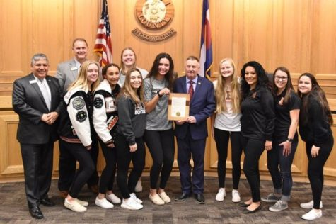 Weld County Board of Commissioners with EHS softball players