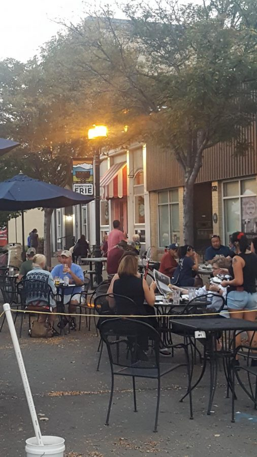 Briggs Street in Downtown Erie. The restaurants and city have worked together to have patios on the street for extra seating